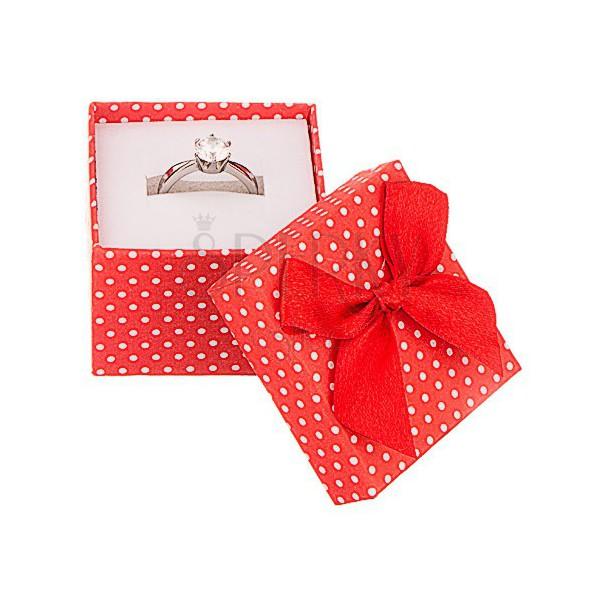Top Scatola da regalo per gioiello - puntini bianchi con fiocco  PB97