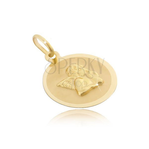 Ciondolo rotondo in oro di 14 carati - superficie opaca con l'angelo 3D