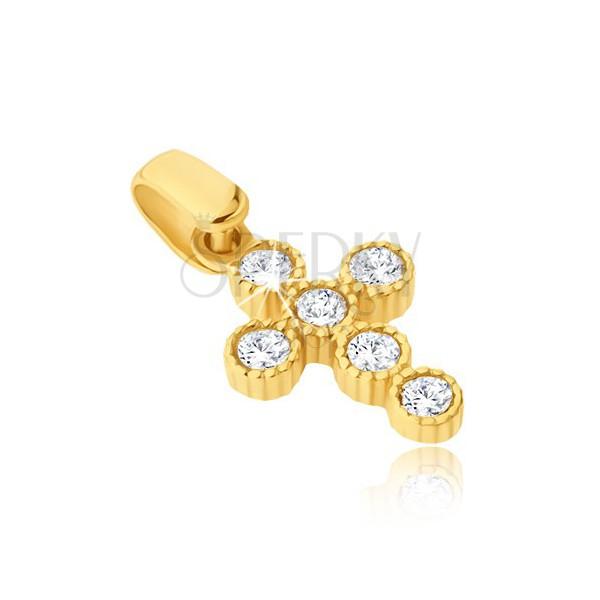 Ciondolo in oro giallo 14K - croce con zirconi rotondi in boccole