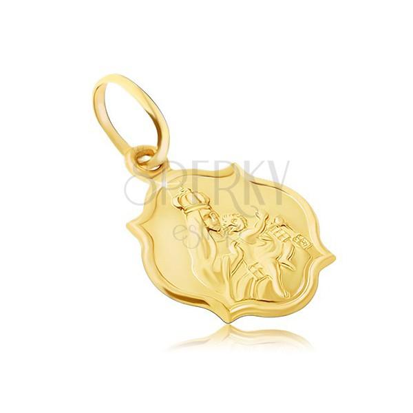 Ciondolo in oro 585 - piastrina opaca a due lati con Madonna e Cristo