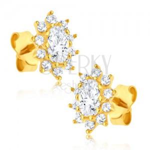 Orecchini in oro 14K - fiori ovali in zirconi brillanti