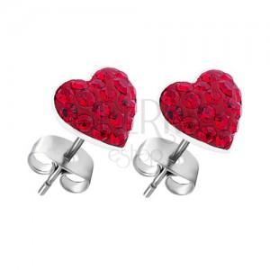 Orecchini d'argento 925 - cuore rosso in zircone, a perno