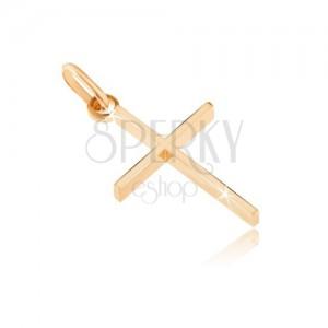 Ciondolo in oro 14K - croce sottile con i fianchi alti
