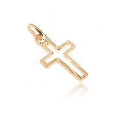 Ciondolo in oro 585 - linea di croce con strisce lucide sottili