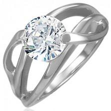 Anello di fidanzamento in acciaio 316L, modello in diagonale ed un zircone chiaro e rotondo