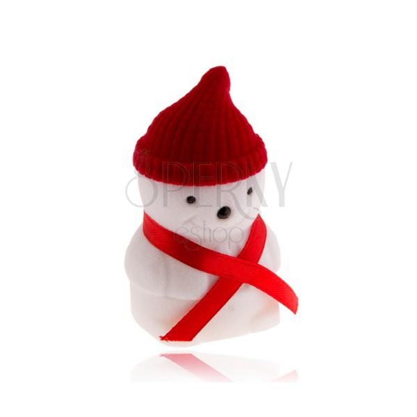 Scatola da regalo per anello, pupazzo di neve con cappello rosso