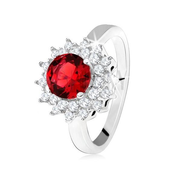 Favoloso Anello con pietra rossa rotonda e con piccoli zirconi chiari  SK19