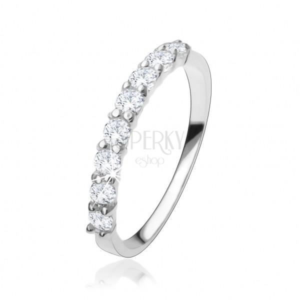 Estremamente Anello di fidanzamento in argento 925, striscia di zirconi chiari  DE04