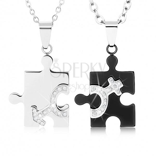 in vendita 6d2d8 e5123 Collane per coppia d'acciaio 316L, divisioni di puzzle in due ...