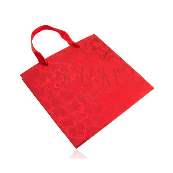 Borsa Per Regalo Colore Rosso Disegno Cuori Sfondo Lucido