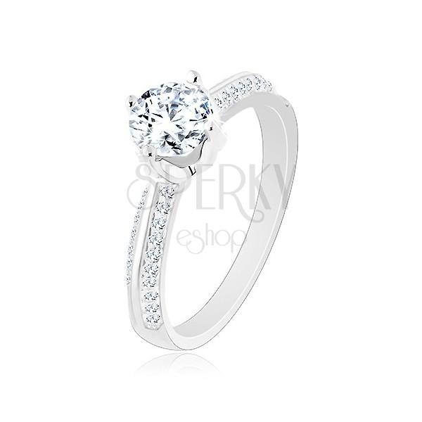 Famoso Anello di fidanzamento d'argento 925, braccia smussate brillanti  HP61