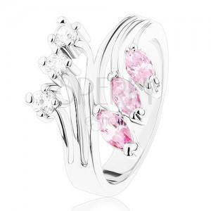 Anello in color argento con bracci ramificati, zirconi in color chiaro e rosa