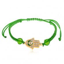 Bracciale con cordini in colore verde, la mano di Fatima, zirconi chiari, palline