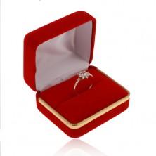 Scatola in velluto per anello, superficie liscia in colore rosso, striscia in colore dorato