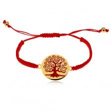 Bracciale realizzato in fili rossi, ciondolo rotondo con albero rosso