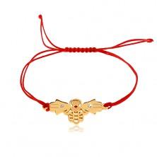 Bracciale in fili, colore rosso, tre mani unite con la mano di Fatima, zirconi chiari