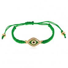 Bracciale intrecciata in colore verde scuro, simbolo occhio ornato con zirconi chiari