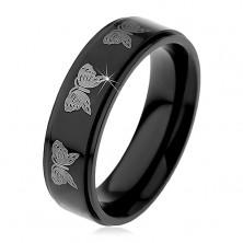 Anello in acciaio nero, modello farfalle in colore argento, 6 mm