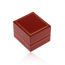 Scatola regalo per anello, superficie in pelle sintetica rosso scuro, margine in colore dorato