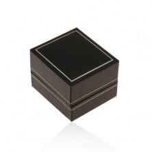 Scatola regalo in pelle nera sintetica per anello, margine sottile in colore argento