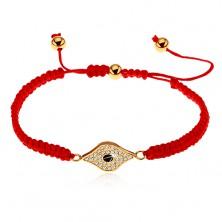Bracciale regolabile in colore rosso realizzato in fili, simbolo occhio ornato con zirconi chiari
