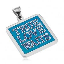 Ciondolo in acciaio, colore argento, inscrizione TRUE LOVE WAITS, smalto blu