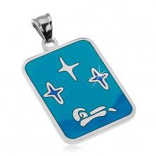 Ciondolo realizzato in acciaio 316L, smalto in tonalità blu, stelle e barca