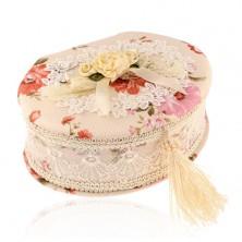 Scatola ovale beige per gioiello con mazzo di fiori e fiocco, modello fiorito
