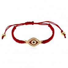 Bracciale con fili rosso violaceo, simbolo occhio ornato con zirconi chiari