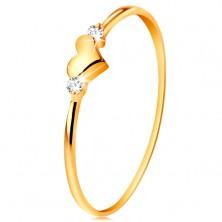 Anello realizzato in oro giallo 14K - due zirconi chiari e cuore lucido, sporgente
