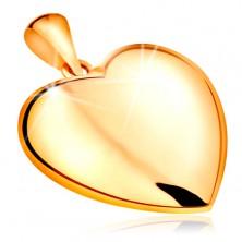 Ciondolo realizzato in oro giallo 14K - cuore sporgente reversibile, superficie lucida