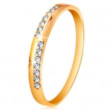 Anello in oro 585 - linee strette in zirconi chiari, brillanti, molto lucido