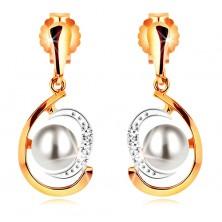 Orecchini in oro 585, lacrima asimmetrica in due colori, perla bianca, zirconi