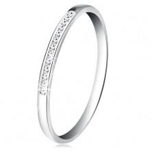 Anello realizzato in oro bianco 14K - linea brillante in piccoli zirconi chiari