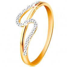 Anello con diamante in oro 14K, lato dritto ed arcuato, piccoli diamanti chiari