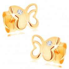 Orecchini in oro 585 con diamante chiaro - farfalla lucida con ritaglio
