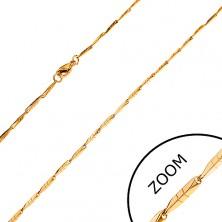 Catena in acciaio dorato - maglie strette, angolari con intagli, 1,5 mm