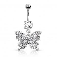 Piercing all'ombelico in acciaio, colore argento, farfalla lucida, zirconi chiari