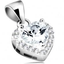 Ciondolo in argento 925, cuore in zircone chiaro con margine brillante