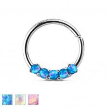 Piercing in acciaio, colore argento, cerchio lucido con opali sintetici