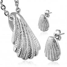 Set in acciaio inox, orecchini e ciondolo - conchiglia in colore argento