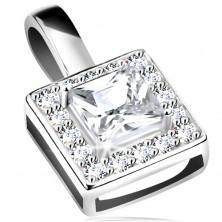 Ciondolo in argento 925, contorno quadrato brillante, zircone chiaro nel mezzo