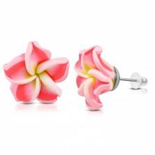 Orecchini FIMO, fiore con centro giallo e petali rosa fosforescente