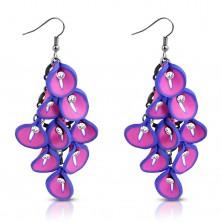 Orecchini FIMO - mazzo pendente di fiori Calla rosa-viola, zirconi chiari nel centro