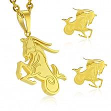 Set in acciaio inox, colore dorato - ciondolo e orecchini, segno zodiacale CAPRICORNO