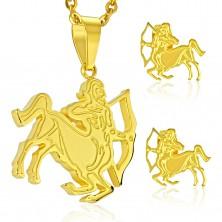 Set in acciaio, colore dorato, orecchini e ciondolo, segno zodiacale SAGITTARIO