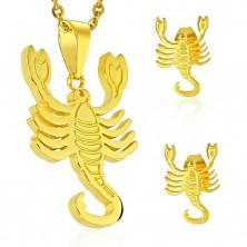 Set in acciaio 316L, colore dorato - ciondolo e orecchini, segno zodiacale SCORPIONE