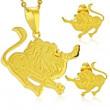 Set in acciaio, colore dorato, orecchini e ciondolo, segno zodiacale LEONE