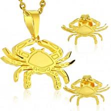 Set in acciaio 316L, ciondolo e orecchini, colore dorato, segno zodiacale CANCRO