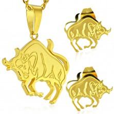 Set in acciaio, colore dorato - ciondolo e orecchini, segno zodiacale TORO